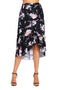 Black Floral Ruffle Wrap Knee-length Skirt