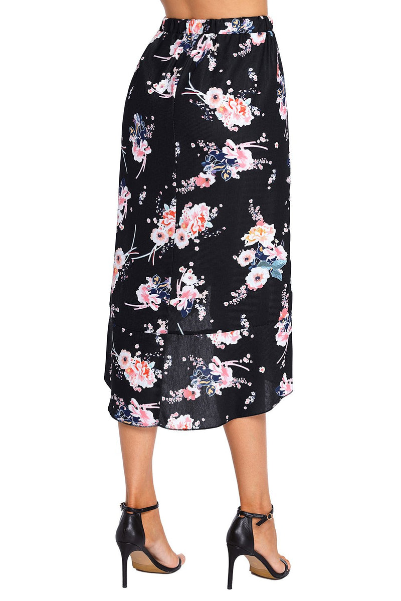 Black Floral Ruffle Wrap Knee-length Skirt freeshipping - PuaGme