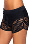 Black Hollow Out Lace Overlay Swim Short Bottom