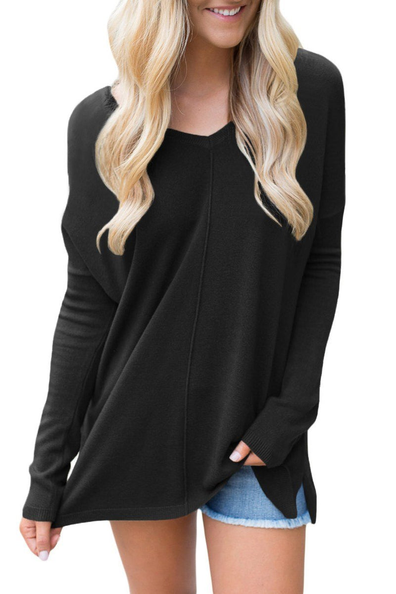 Black Soft comfort V Neck Sweater freeshipping - PuaGme
