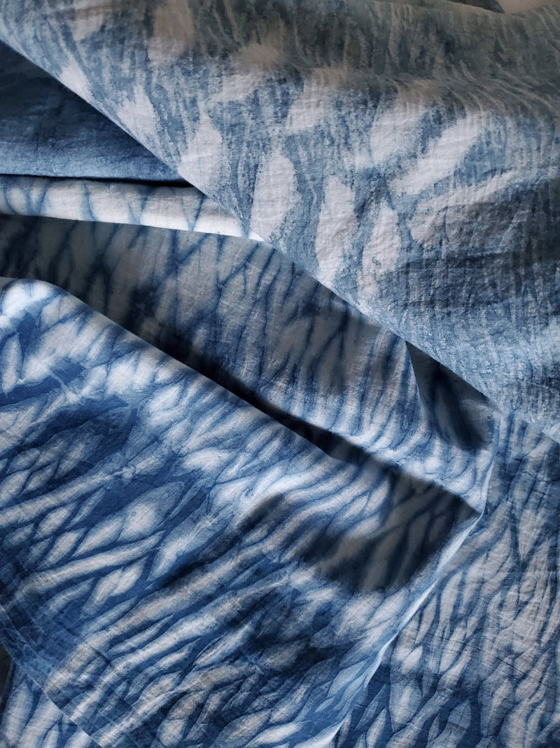 HAND-DYED NATURAL INDIGO STRIPE FABRIC freeshipping - PuaGme