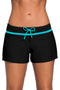 Blue Trim Black Women Swim Boardshort freeshipping - PuaGme