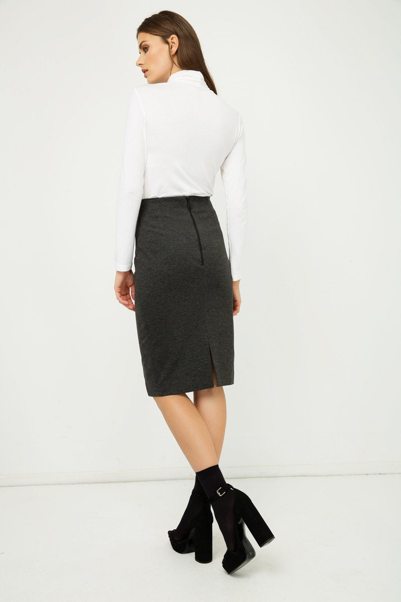 Dark Grey High Waist Fitted Pencil Skirt freeshipping - PuaGme
