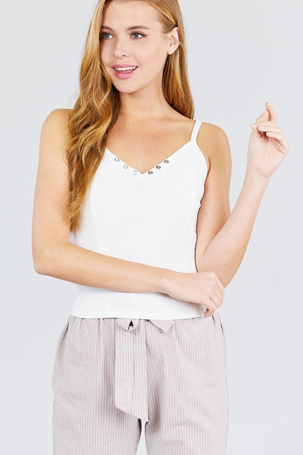 White Snap Button Design Camisole freeshipping - PuaGme
