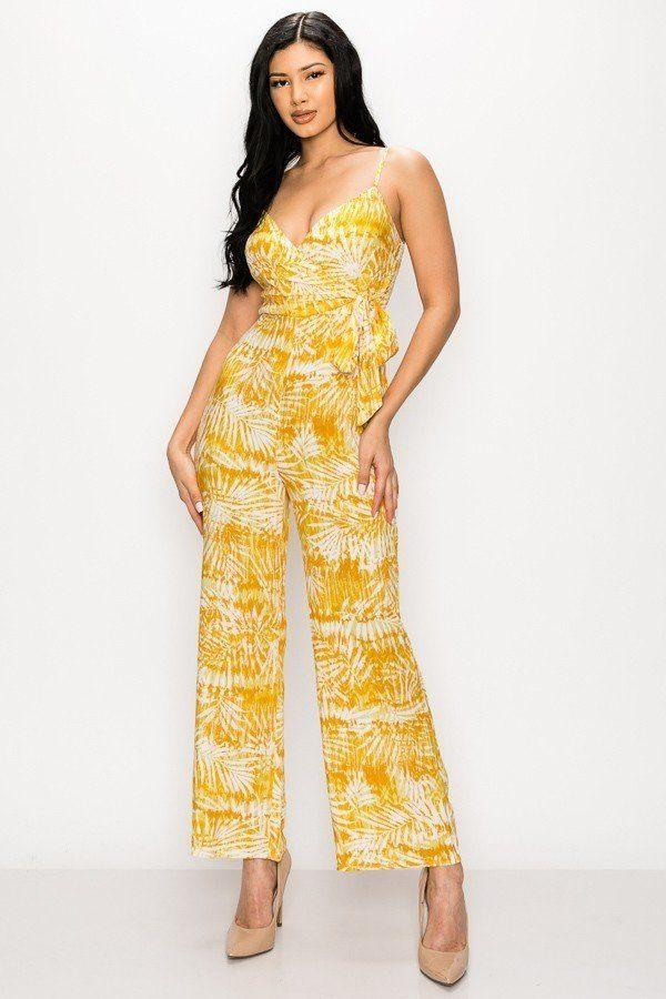 Tropical Leaf Print Sleeveless Women's Jumpsuit