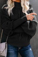 Cable Knit Balloon Sleeve Winter Black Sweater