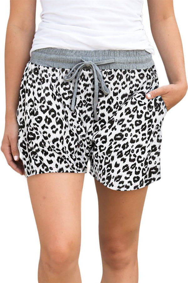 Casual White Leopard Print Drawstring Waist Women Shorts