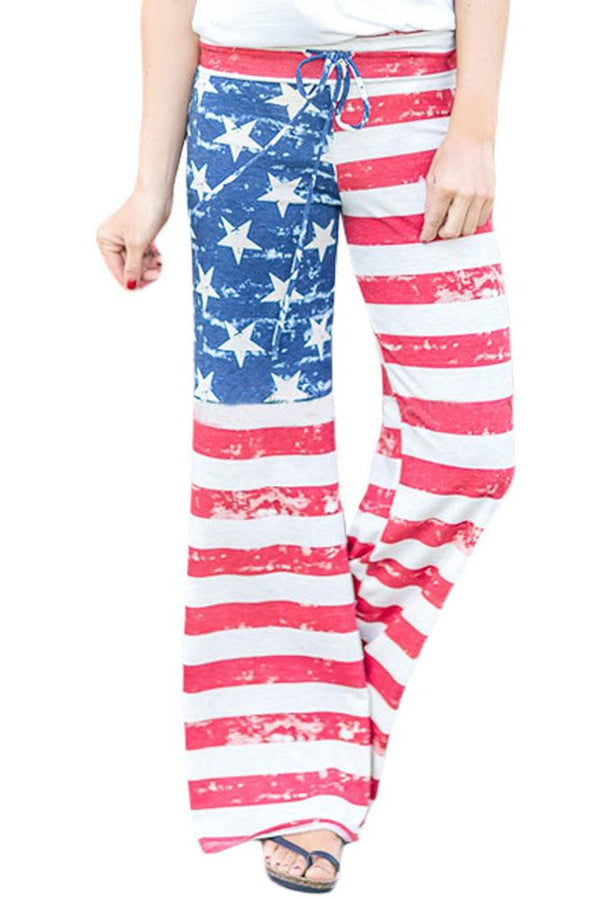 Casual American Flag Terry Wide Leg Pants freeshipping - PuaGme