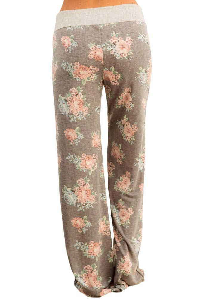 Casual Taupe Floral Terry Wide Leg Pants freeshipping - PuaGme
