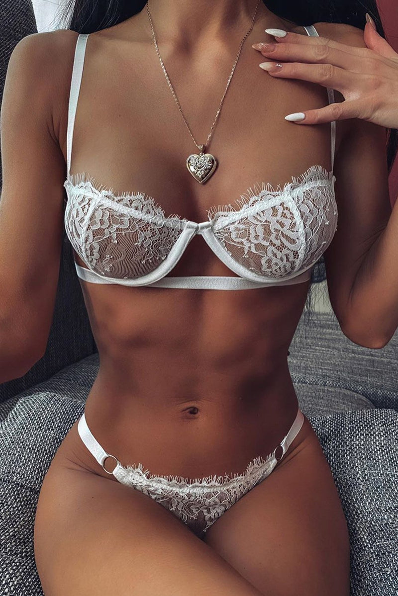 Chic White Lace Balconette Bralette Lingerie Set