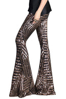 Chic Brown Sequin Wide Leg Pants freeshipping - PuaGme
