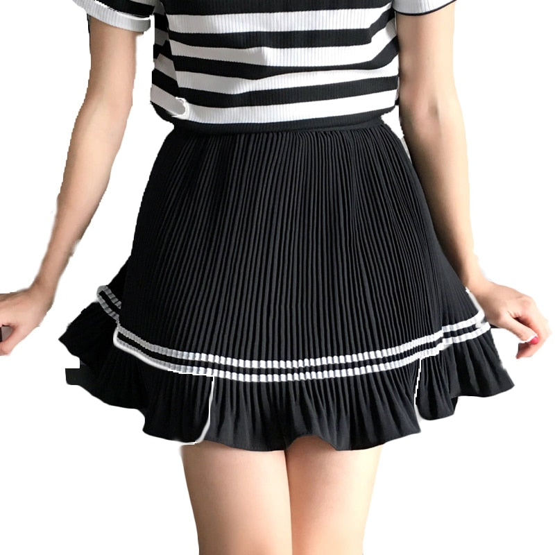 Cute Sweet Mini Striped Preppy Pleated Skirt