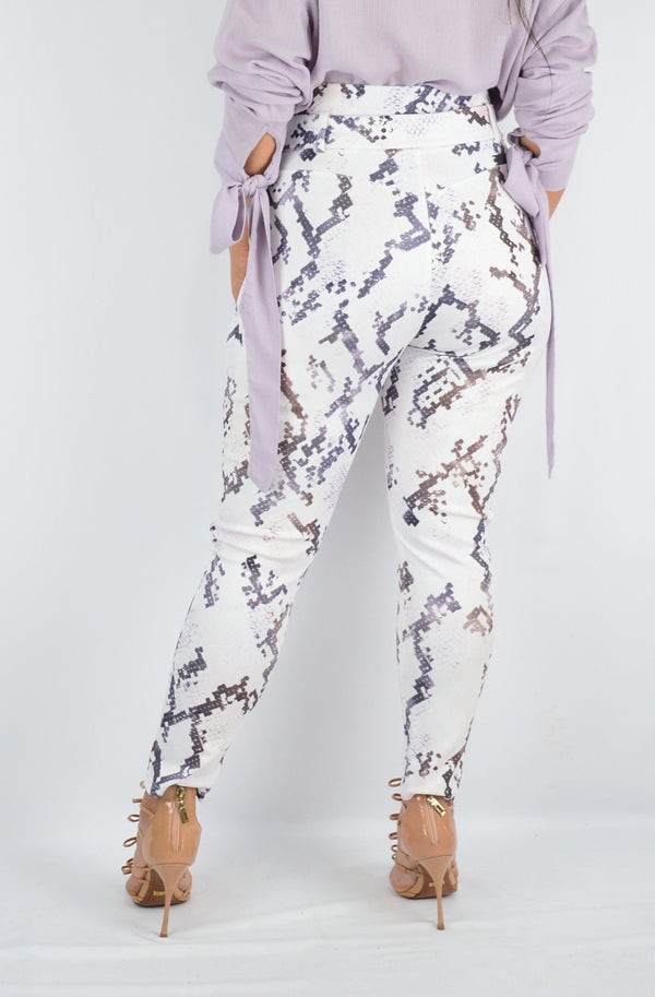 SNAKE PRINT CLOCHARD PANTS WITH BAND