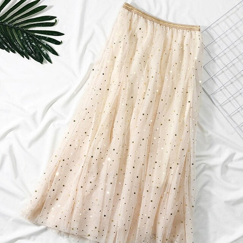 Ladies Sequined Mesh Skirt Casual A