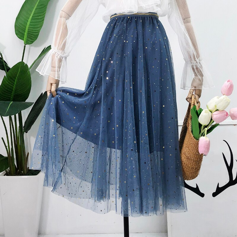 Ladies Sequined Mesh Skirt Casual A freeshipping - PuaGme