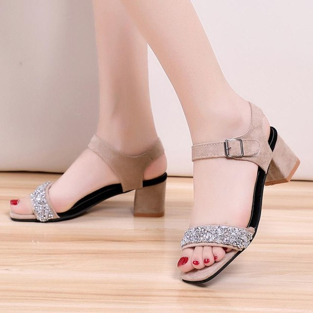 Fashion Shoes Women Sandals Summer Solid Crystal