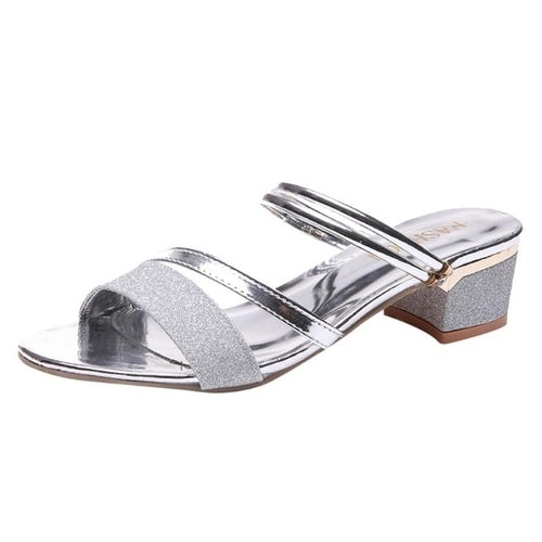 Fashion Women Open Toe Flip Flop Summer Sequins