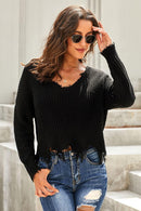 Fashion Black Tainted Love Cotton Distressed Sweater freeshipping - PuaGme