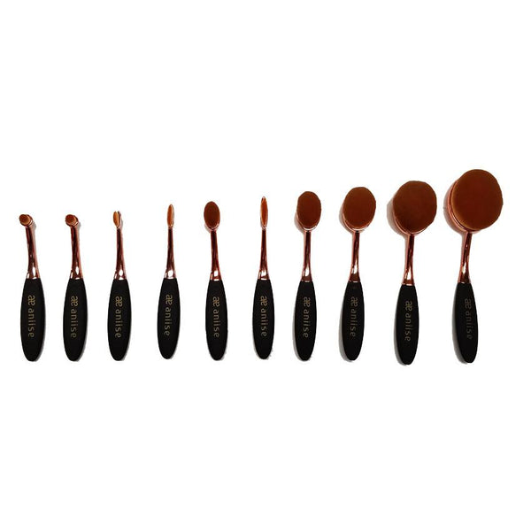 10 PIECE OVAL MAKEUP BRUSH SET - ROSE GOLD
