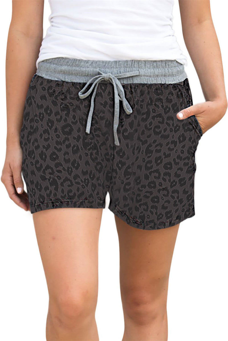 Gray Leopard Print Drawstring Waist Women Casual Shorts