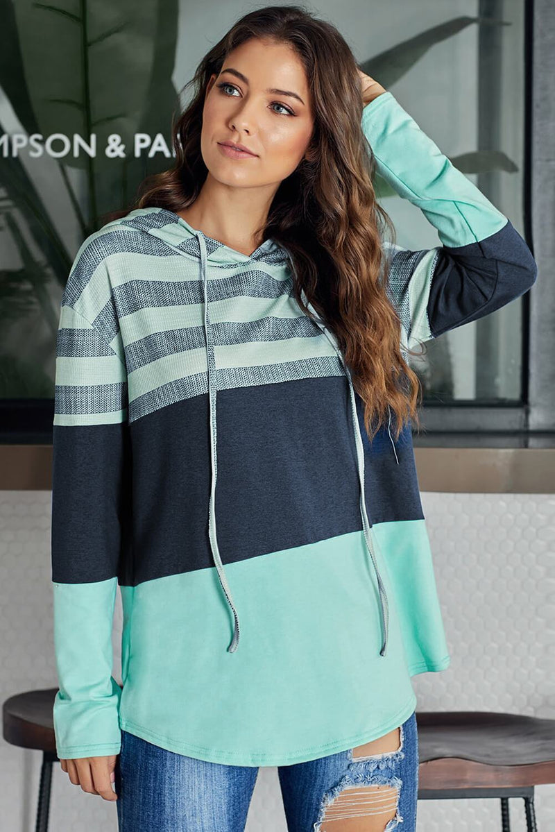 Green Speak to Me Color Block Drawstring Hoodie freeshipping - PuaGme