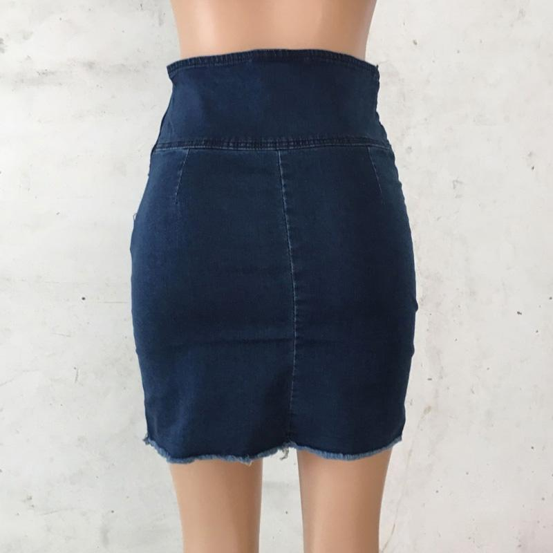 Blue Jeans Women Mini Pencil Denim Skirt