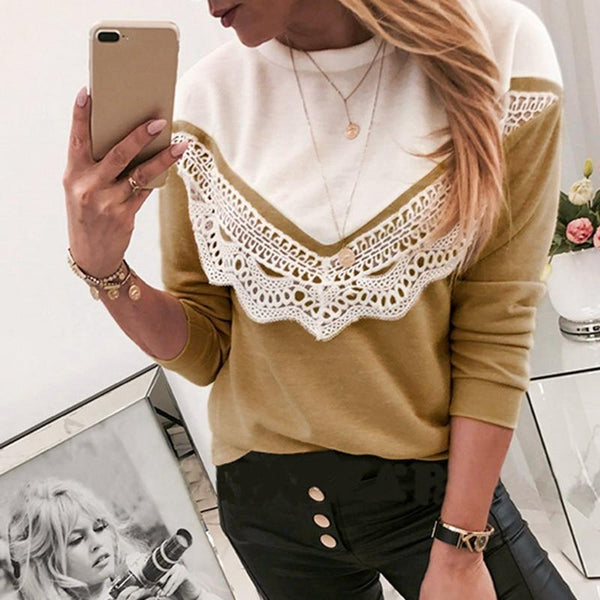 Lace Knitted Women Patchwork Loose Shirts Tops