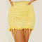 High Waist Ruched Lace Trim Mini Skirt freeshipping - PuaGme