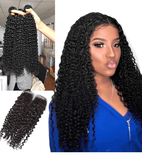10A Grade 1/3/4 Bundles Kinky Curly 3/4 Bundles with Closure Brazilian