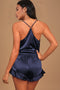 Navy Sleep Tight Satin Camisole Shorts Pajamas Set freeshipping - PuaGme