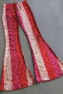 New Red Color Block Sequin Wide Leg Pants