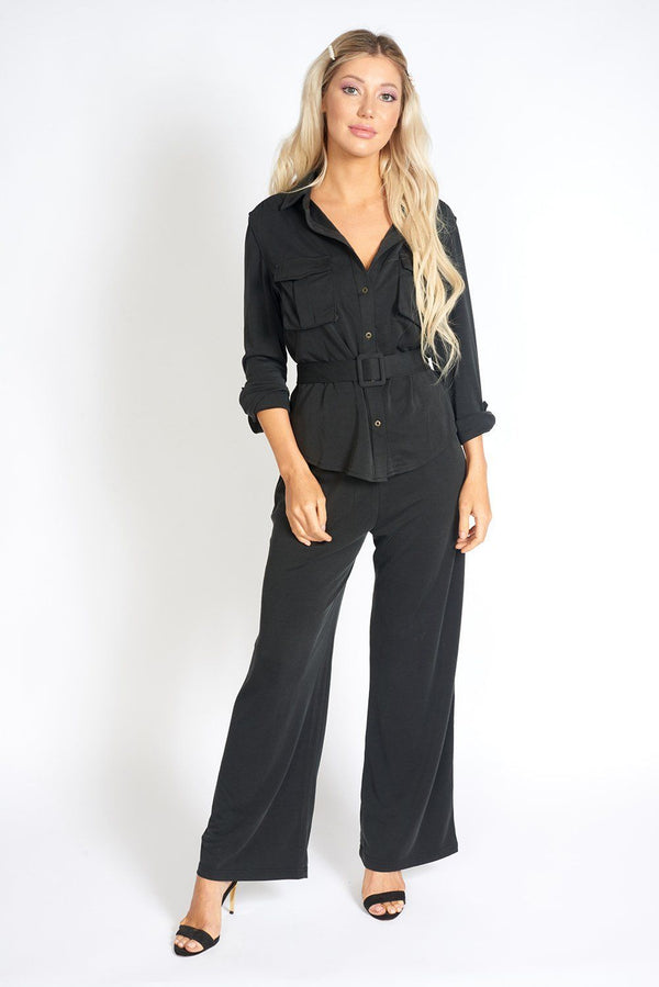 Office Day Easy Black Wide Leg Pants freeshipping - PuaGme