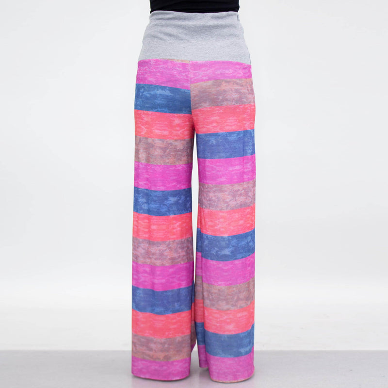 Wide Leg High Waist Multi Colored Maxi Pants