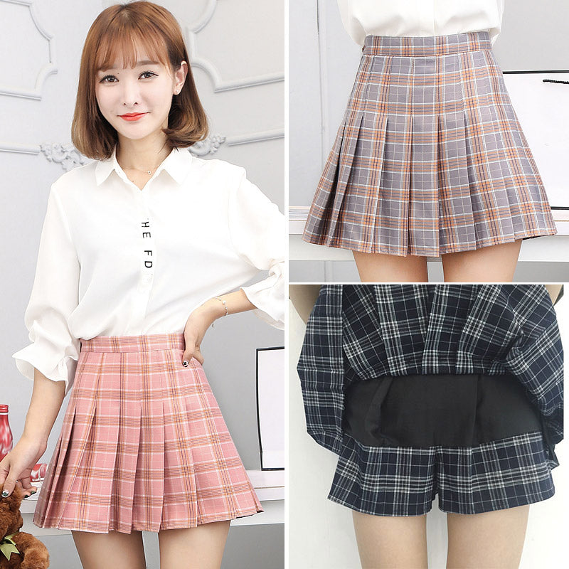 Plaid Sweet Pleated Skirts Preppy faldas A