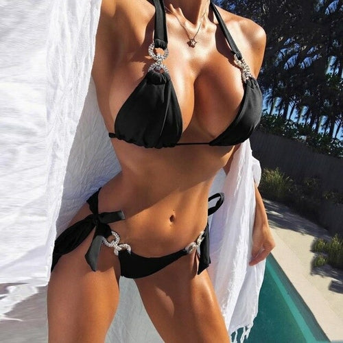Popular Women's Sexy Crystal Bandage Bikini Set
