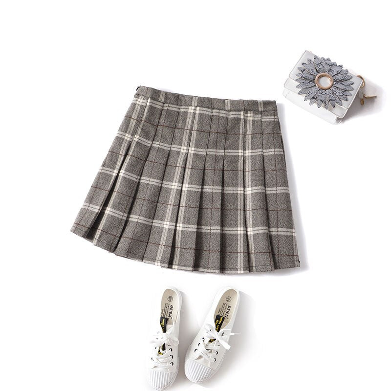 Preppy Harajuku Pleated Skirt Plaid Cute freeshipping - PuaGme
