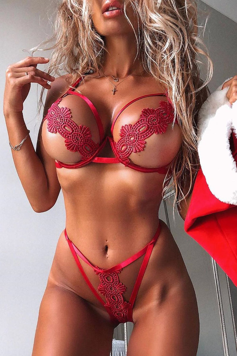Red Lace Embroidered Hollow Out Bikini Lingerie Set freeshipping - PuaGme