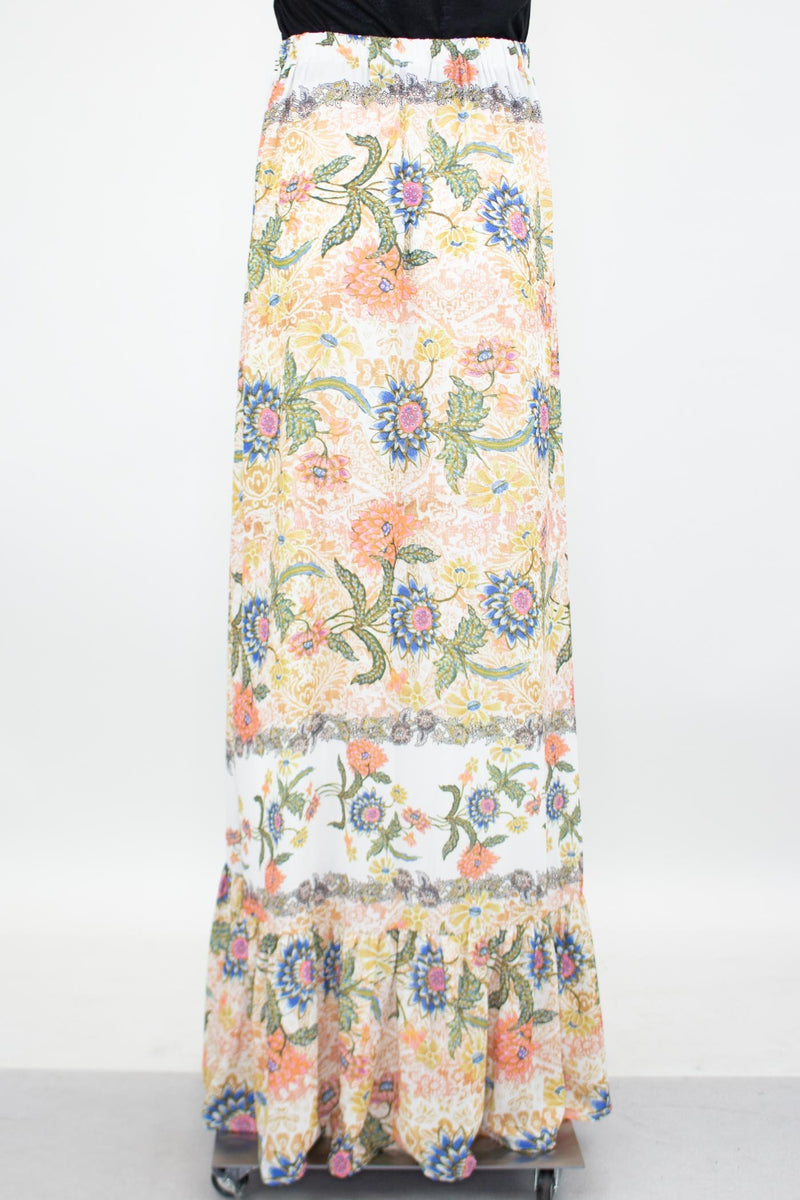 Flared Bottom Floral Maxi Skirt