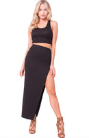 SIDE SLIT HIGH WAIST SKIRT