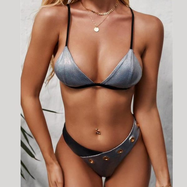 Sexy Triangle Swimsuit Female Two Piece Silver Bikini