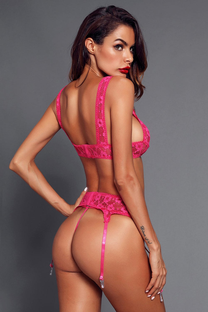 Sexy Seductive Rosy Lace Bralette Garter Set freeshipping - PuaGme