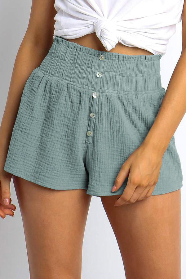 Sky Blue Crapy Banner High Waist Cotton Shorts freeshipping - PuaGme