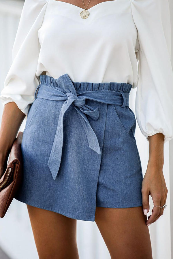Sky Blue Pocketed Wrap Mini Denim Skort
