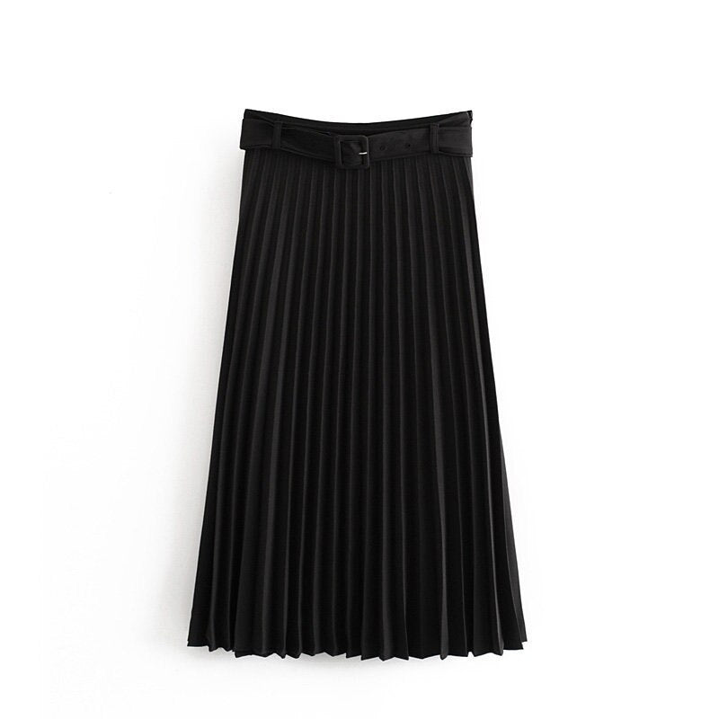 Solid Pleated Loose Skirt Sashes Mid Calf Skirts