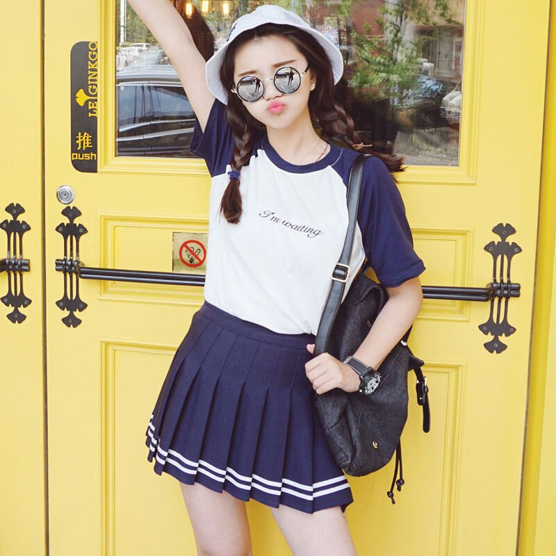 Striped Preppy Cute Sweet Mini Pleated Skirt freeshipping - PuaGme