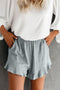 Summer Gray Blue Pocketed Flutter Linen Cotton Shorts