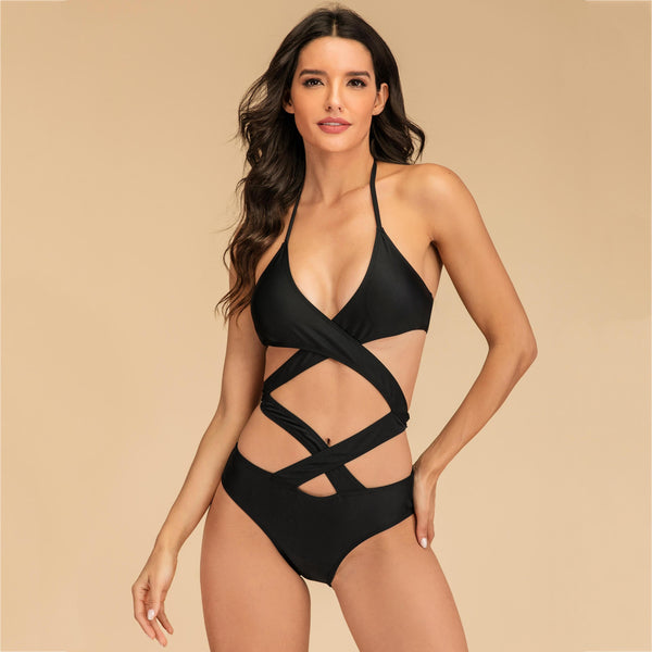 Sexy Cross Bandage Hollow Oit Swimsuit