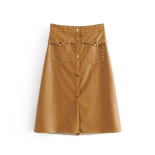 Vintage A Line Solid PU Leather Skirt High Waist freeshipping - PuaGme