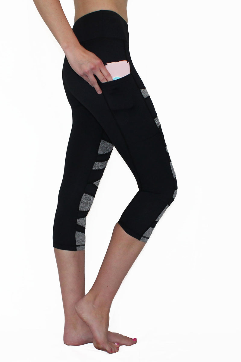 Black and Gray Weave - Pocket Capri - ON SALE freeshipping - PuaGme