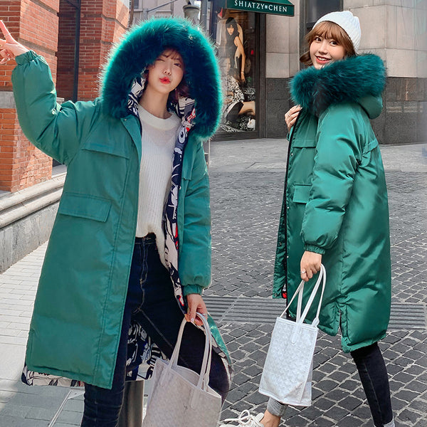 Women Parka Coats Double Sided Wear